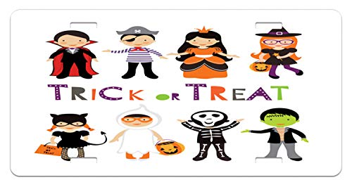 Lunarable Halloween License Plate, Trick or Treat Colorful Kids Halloween Costumes Skeleton Princess Vampire Witch, High Gloss Aluminum Novelty Plate, 5.88 L X 11.88 W Inches, Multicolor ()