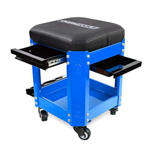 OEMTOOL 24996 Blue Rolling Workshop Creeper Seat with 2 Tool Storage Drawers Under Seat Parts Storage Can Holders by OEMTOOLS (Image #6)