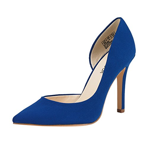 Classy High Heels (JENN ARDOR Stiletto High Heel Shoes For Women: Pointed, Closed Toe Classic Slip On Dress Pumps-Blue)