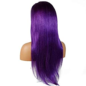 Hairpieces Natural Hair Extension Wig Wig Lace Hood Lace Wigs Purple Full Lace Real Hair for Daily Use and Party (Size : 24″)