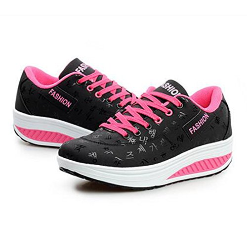 Jiyaru Womens Running Ladies Sports Shoes Lace Up Athletic Gym Shoes Black W1uipV