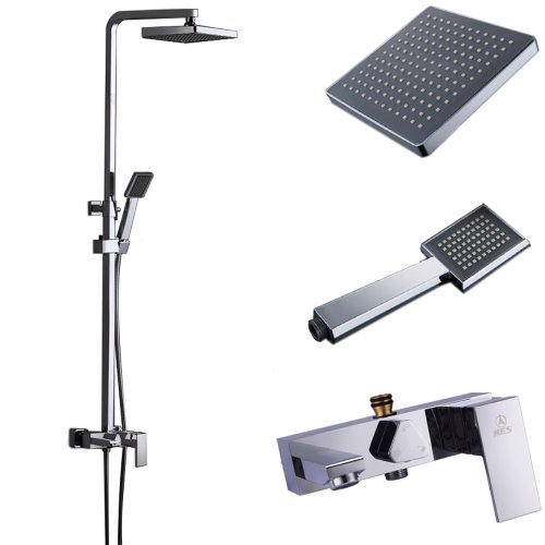 kes x6609b european style bathrube u0026 shower system rainfall shower head adjustable shower bar wall mount triple function chrome