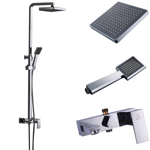 KES X6609B European Style Bathrube & Shower System Rainfall Shower Head Adjustable Shower Bar Wall Mount TRIPLE FUNCTION, (Chrome Wall Tub Spouts)