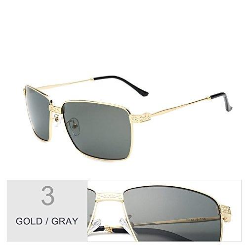 el gafas hombre Revestimiento gafas Polaroid de UV400 oro gris Vintage por de Guía lentes sol negro TL Gray Sunglasses polarizadas Gold FPzxt8
