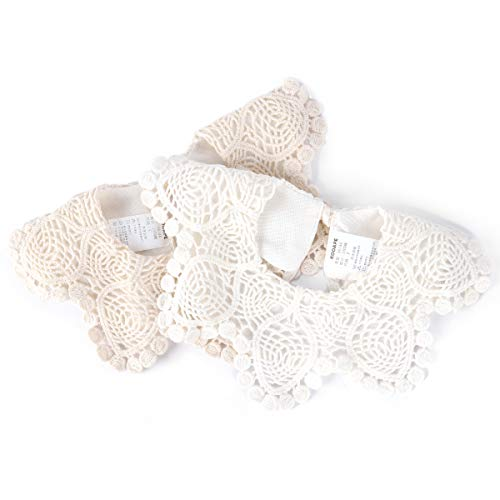2-Pack Baby Bibs LIVEBOX New Lace Fake Collar Baby Bandana Bib for Drooling and Teething with Snap, 100% Organic Cotton Bib Burp Cloths for Baby Girl, Baby Shower Gift Set (R-White+Beige)