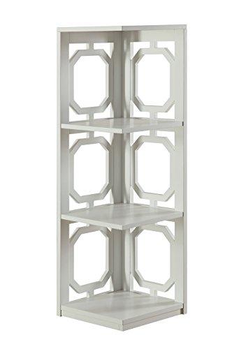 Convenience Concepts Omega 3-Tier Corner Bookcase, White
