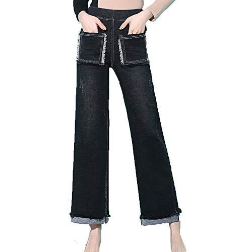 Boyfriend LIJINJING Droite Coupe Femme Taille Taille Jean Slim Jean Black Grande Snr4wn6f