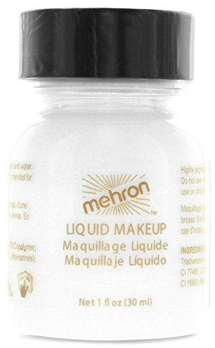 Mehron Makeup Liquid Face & Body Paint, WHITE - 1oz (Quickly Clown Costume)
