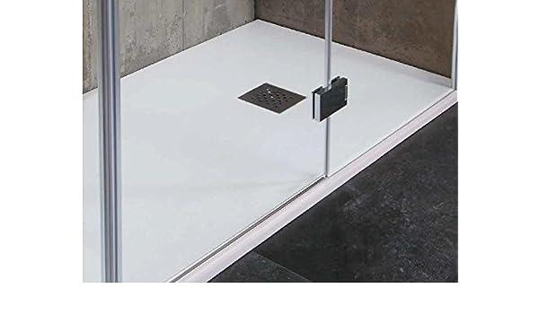 Tamanaco - Plato de ducha de resina mineral (imitación mármol), colores blanco, gris antracita, crema y gris cemento: Amazon.es: Hogar