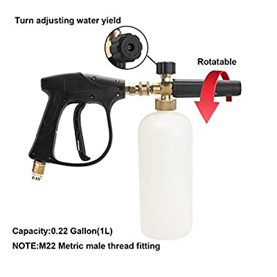 SPAUTO High Pressure Washer Gun 3000 PSI Foam Wash Gun Snow Foam Lance Foam Cannon Blaster with M22-14mm Thread and Wash Mitt & Nozzle Set: Automotive