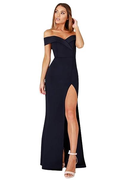 new concept 00e08 c11b1 emmarcon Abito Lungo Donna Cerimonia Party con Spacco Scollo a Cuore  Vestito Sera
