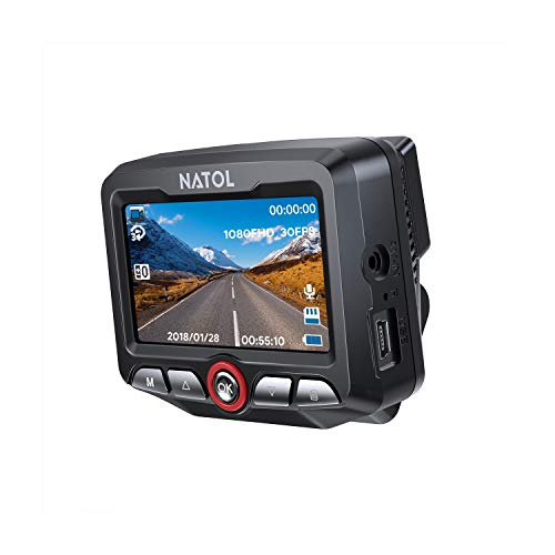 NATOL Dash Cam Full HD 1080p with Super Night Vision, Car Hidden Dashboard Camera Recorder with Large Screen, 170º Wide Angle, Loop Recording, G-Sensor, Parking Mode and Motion Detection