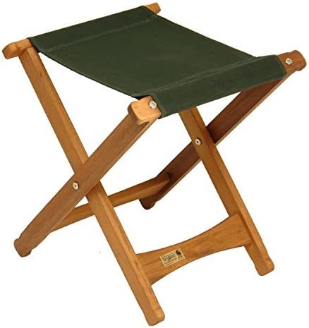 BYER OF MAINE, Pangean, Folding Stool, Hardwood, Easy to Fold and Carry, Wood Folding Stool, Canvas Camp Stool, Perfect for Camping, Matches All Furniture in The Pangean Line, Green, Single