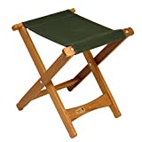 Wood and Canvas Folding Stool BYER OF MAINE Pangean Stool, Hardwood Keruing Wood, Hand-Dipped Oil Finish, Easy to Fold and Carry, Perfect for Camping and Tailgating, Matches All Furniture in The Pangean Line (Single Forest Green)