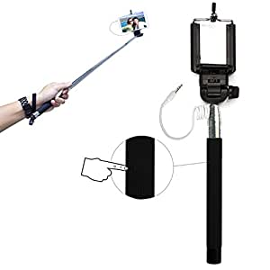 PCMOVILES -- Negro Selfie Stick / Palo para Selfies extensible con cable para Sony xperia L s36h