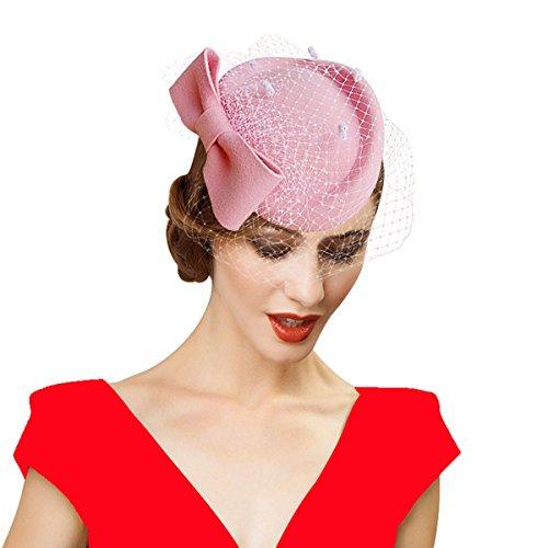 (Lady Womens Dress Fascinator Wool Felt Pillbox Hat Party Wedding Bow Veil A082 (Pink))