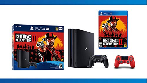 NEW : PlayStation 4 Pro 1TB Console – Red Dead Redemption 2 + DualShock 4 Wireless Controller for PlayStation 4 – Magma Red + NBA 2K17 Bundle ( 3 – Items )