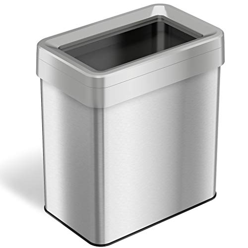 iTouchless 16 Gallon Dual-Deodorizer Open Top Trash Can, Rectangular Shape, Commercial Grade Stainless Steel, 61 Liter Open Garbage Can ()
