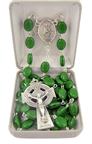 Catholic Green Irish Shamrock Prayer Bead Rosary Necklace with Saint Patrcick Centerpiece, 36 Inch