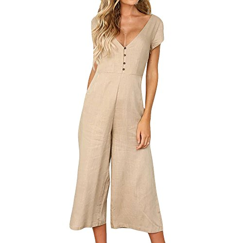(2019 New Womens V Neck Jumpsuit Summer Short Sleeve Wide Leg Pant Clubwear Playsuit Clubwear Rompers by Sunyastor Khaki)