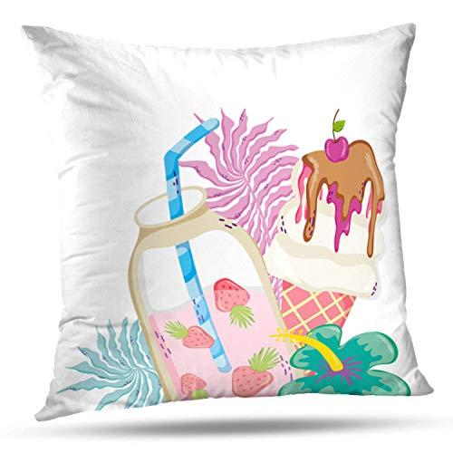 Suesoso Decorative Pillows Case 18 X 18 Inch Summer and Tropical Drinks Alcohol Bar Beach Drink Exotic Throw Pillowcover Cushion Decorative Home Decor Garden Sofa Bed Car from Suesoso