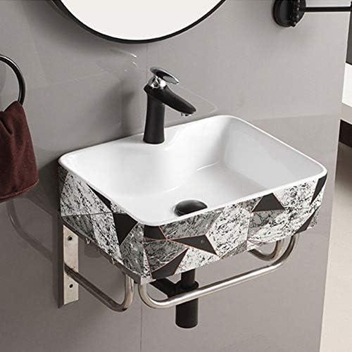 洗面ボール ウォールマウント小型ハーフバスルームコーナー盆地の洗面化粧台セラミック容器シンクメタルシェルフ 洗面器 (Color : Stone pattern, Size : 48.5x37x13cm)
