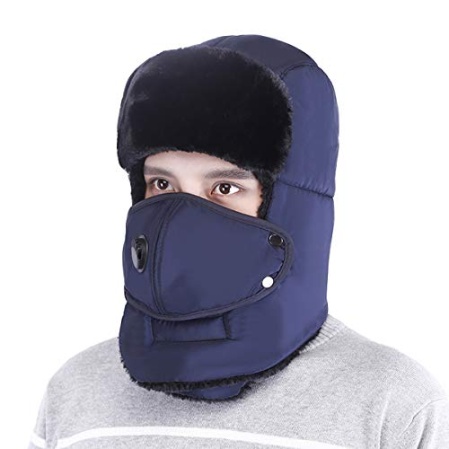 - Trooper Trapper Hat Men's Winter Windproof Warm Mask Earflaps Outdoor Sports Walking Skiing Hunting Aviator Hat (Blue-Breathing Valve)