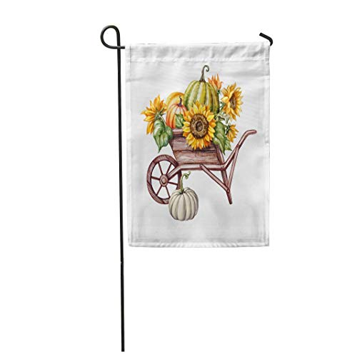 Tarolo Decoration Flag Watercolor Pumpkins in The Wheelbarrow Sunflowers Thanksgiving Farm Harvest Halloween Autumn Fall Holiday Clip Thick Fabric Double Sided Home Garden Flag 12
