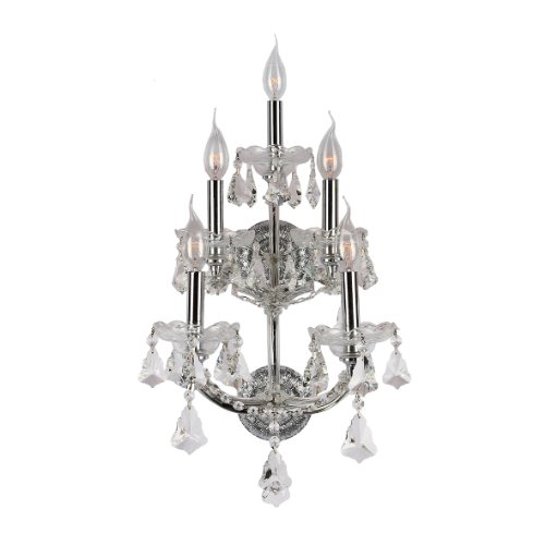 Crystal Sconce Bellacor (Worldwide Lighting Maria Theresa Collection 5 Light Chrome Finish and Clear Crystal Candle Wall Sconce 12