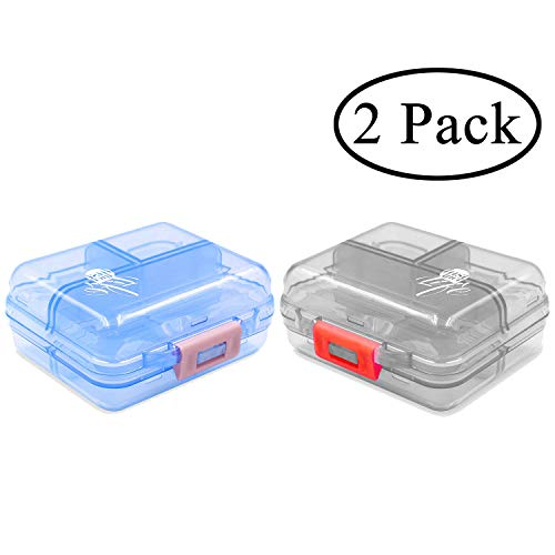 2 Pack Travel Pill Organizer Case Pocket Container, 7 Compartments Daily Pill Case for Vitamin/Fish Oil/Supplements, Translucent Black and Blue