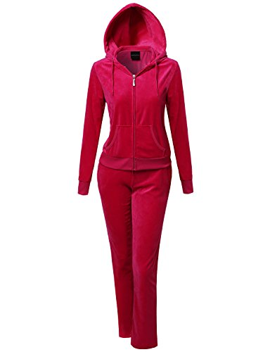Made by Emma Athletic Soft Velour Zip-Up Hoodie Sweatpants Set Fuchsia L