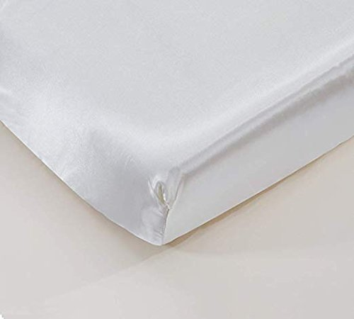 (California Drapes Soft & Silky Satin Crib Fitted Sheet, Great for Babies with Sensitive Hair, Fully Elastic All Around for A Secure Fit)