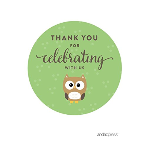 Andaz Press Birthday and Baby Shower Round Circle Labels Stickers, Thank You for Celebrating With Us, Woodland Owl, 40-Pack, For Gifts and Party Favors ()