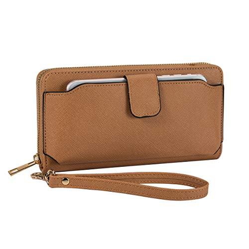 (Women Wristlet Wallet with Cell Phone Holder RFID Blocking Zip Around Wallet PU)