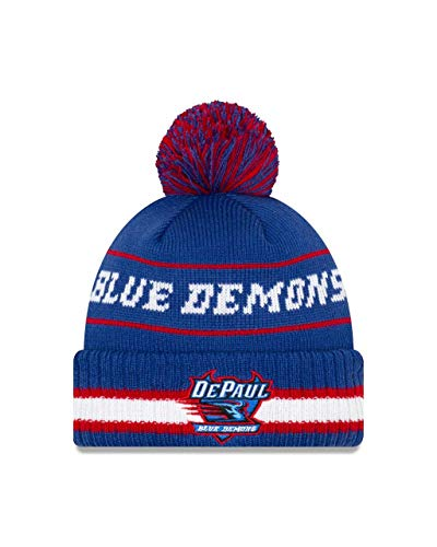 New Era DePaul Blue Demons College Vintage Select Knit Pom Beanie - Royal, One Size