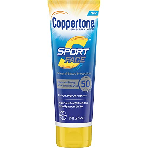 Coppertone Sport Face SPF 50 Sunscreen Mineral Based Lotion, Dye Free, PABA Free & Oxybenzone Free, 2.5 Fl Oz