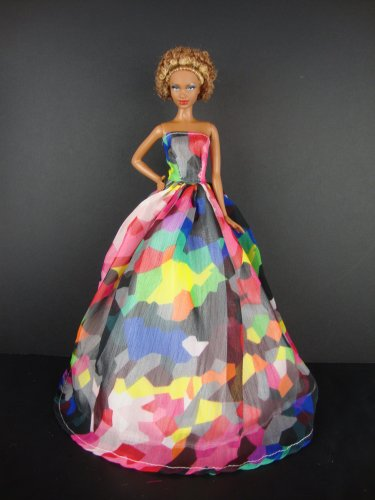Beautiful Multi Color Blocked Gown Made to Fit the Barbie Doll, Baby & Kids Zone