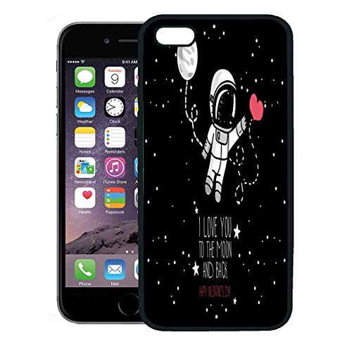 (Semtomn Phone Case for iPhone 8 Plus case,Cute Astronaut Heart Moon and Stars Floating in Space for Love Hand Valentine Day Cosmic iPhone 7 Plus case Cover,Black)