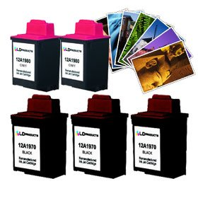 - LD Lexmark #70 & #80 Remanufactured Combo Set - 3 Black #70 (12A1970) and 2 Color #80 (12A1980) + Free 20 Pack of LD Brand 4x6 Photo Paper