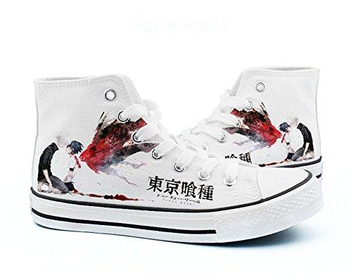 Sneakers Tokyo Ghoul Cosplay Black Shoes Canvas White Kaneki Ken Shoes 4 White WBcRrAB0T