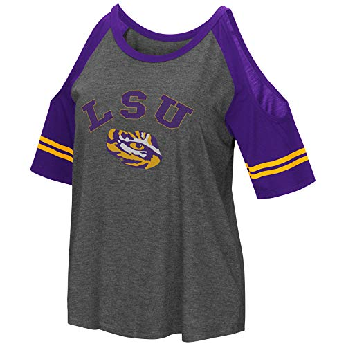 Colosseum NCAA Women's Casual Cold Shoulder Short Sleeve T-Shirt-Heather Charcoal-LSU Tigers-Large