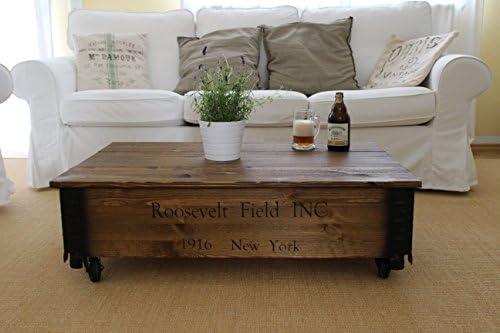 Mesa de centro tipo baúl de madera maciza de nogal - Mesa auxiliar ...