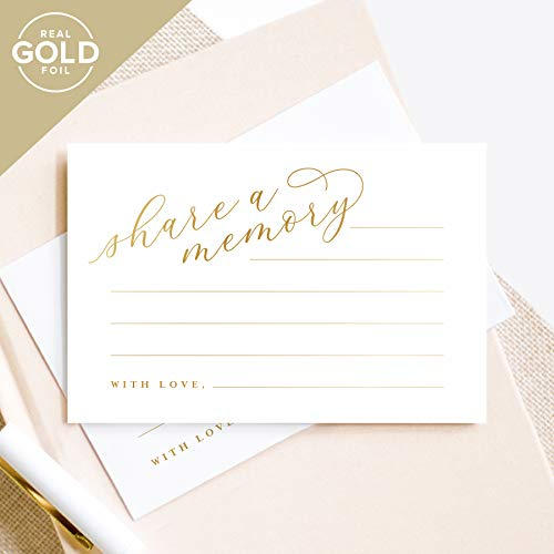 Gold Share A Memory Cards - Perfect for: Funeral, Celebration of Life, Memorial, Retirement, Going Away Party, Birthday, Graduation, Wedding - 50 Pack of 4x6 Cards from Bliss Paper Boutique -