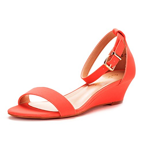 Ingrid Coral Nubuck Ankle Strap Low Wedge Sandals - 5 M US (Coral Dress Shoes)