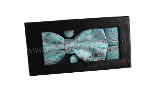 Various Pocket Smart Paisley Bow Bow Fine Satin Tie Fromal Tie Fashion Mens Colours White Set Square Mint Shine Cufflinks 8tZnFwwqx
