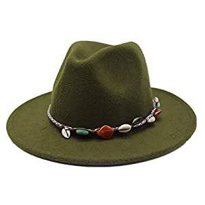 Fashion Sun Hat for Fedora Men Women Hat Wool Leather Braided Rope Turquoise Boho Jazz Church Godfather Wide-Brimmed Hat Suitable for hot Weather Season (Color : Green, Size : 56-58CM)