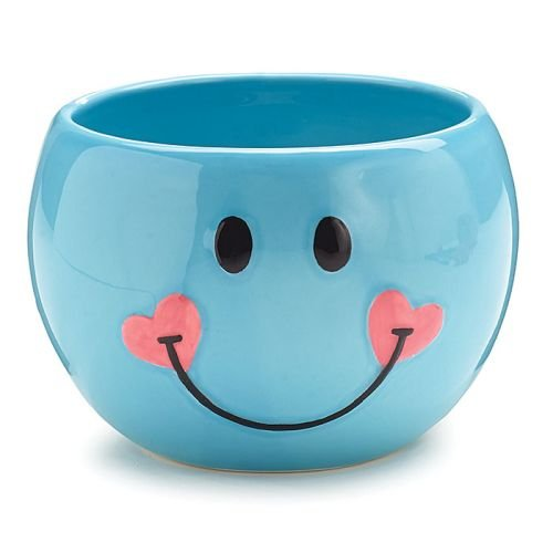 Adorable Blue Smiley Face/Happy Face Planter/Candy Dish with Hearts (Floral Candy Dish)