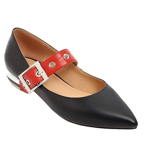 Chaussures Pointu Femmes Plats Escarpins Bout MissSaSa Boucle Fermeture Noir qwSZ1vWn