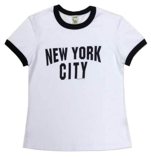 - S & T World Products NYC Lennon Baby Doll Ringer Ladies T Shirt Black & White MD