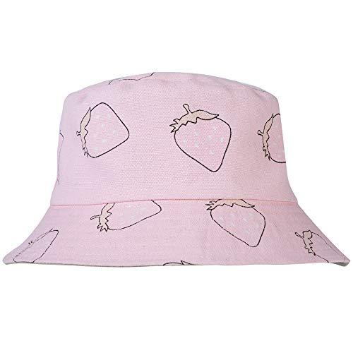 ZLYC Unisex Cute Print Bucket Hat Summer Fisherman Cap (Strawberry Pink) ()